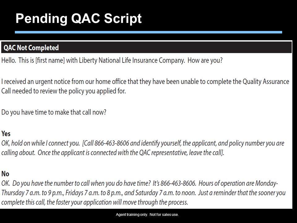 Pending QAC Script