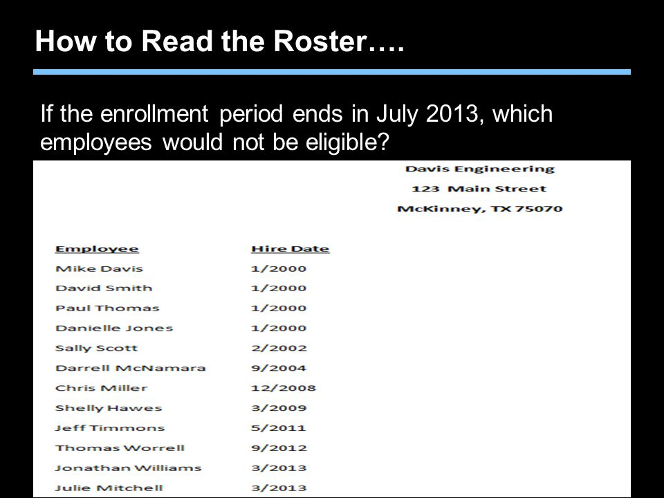 How to Read the Roster…. If the enrollment period ends in July 2013, which employees would not be eligible