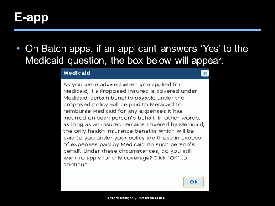 E-app On Batch apps, if an applicant answers 'Yes' to the Medicaid question, the box below will appear.