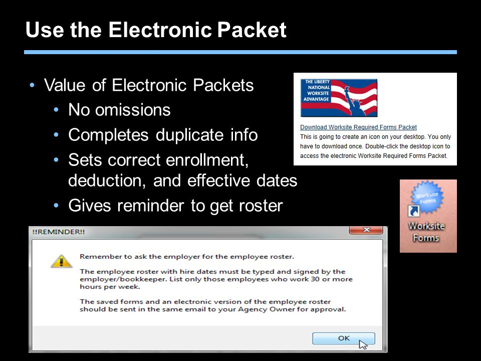 Use the Electronic Packet