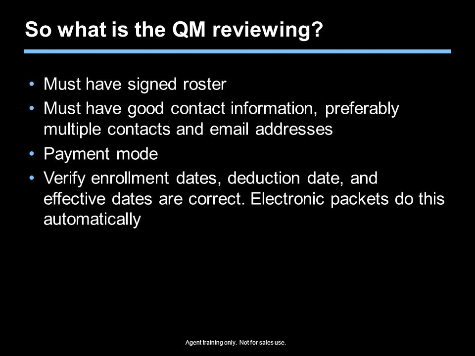 So what is the QM reviewing