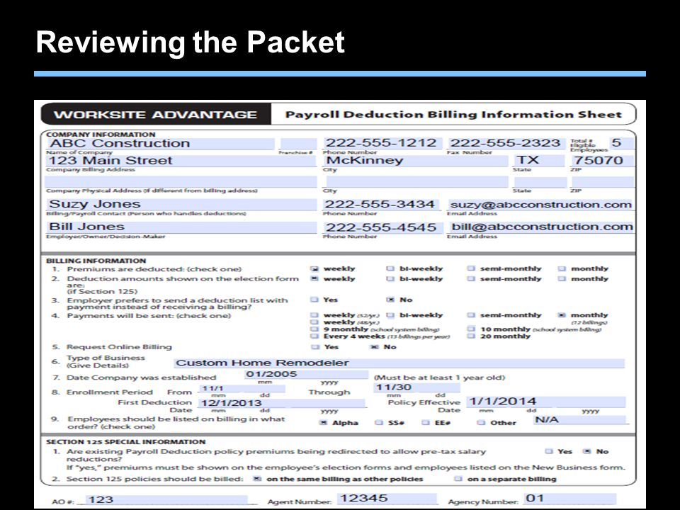 Reviewing the Packet The key information is found on the Payroll Deduction Billing Information Sheet.