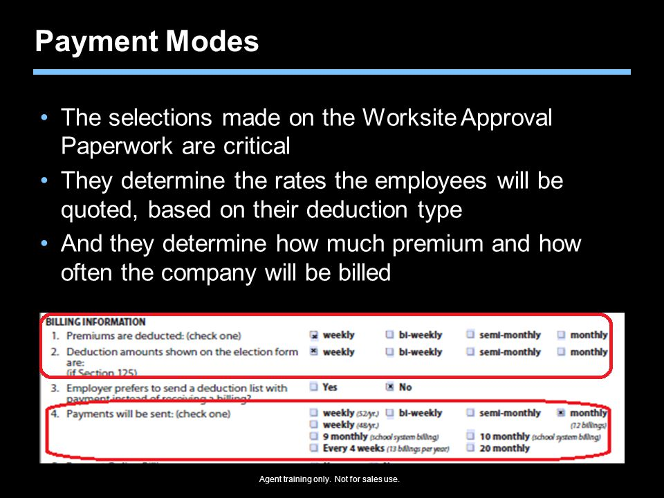 Payment Modes The selections made on the Worksite Approval Paperwork are critical.