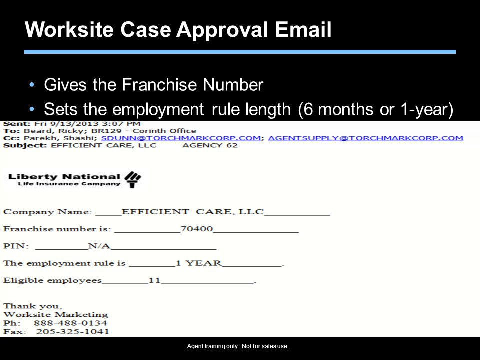 Worksite Case Approval Email