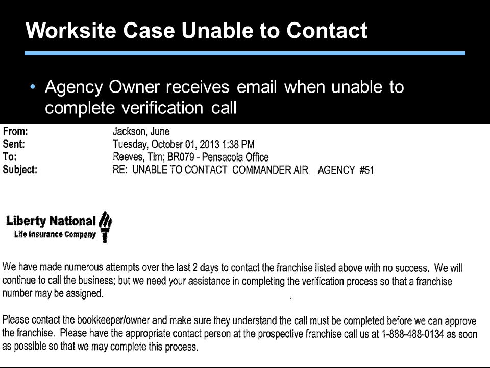 Worksite Case Unable to Contact