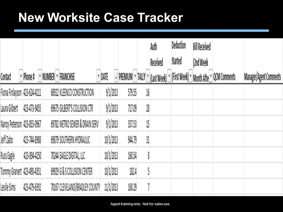 New Worksite Case Tracker