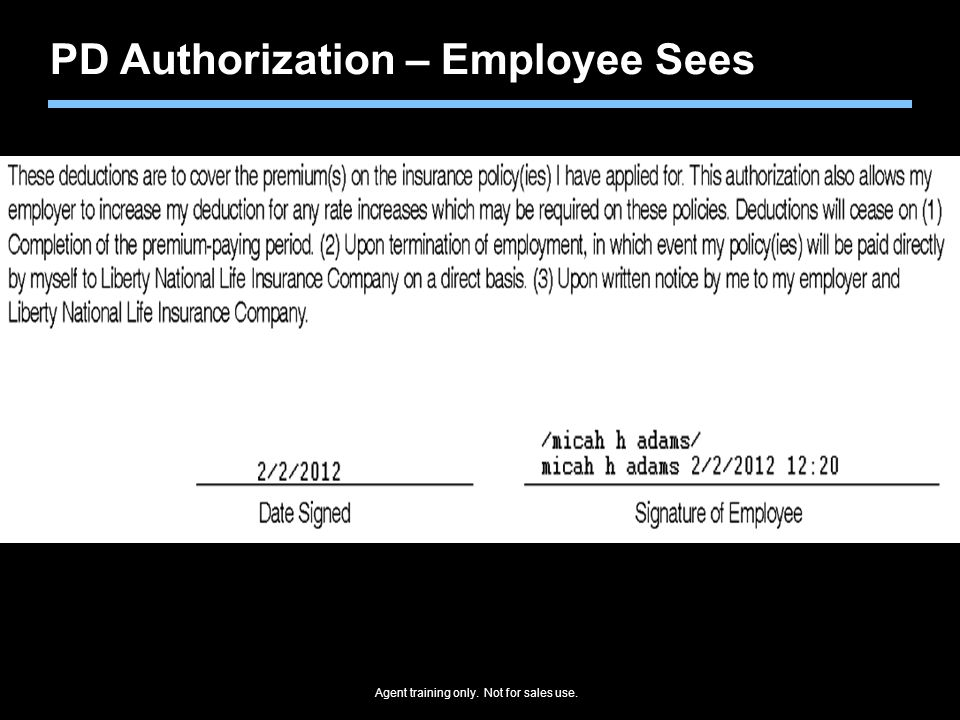 PD Authorization – Employee Sees