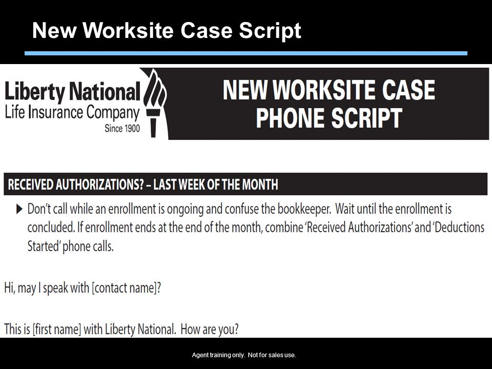 New Worksite Case Script