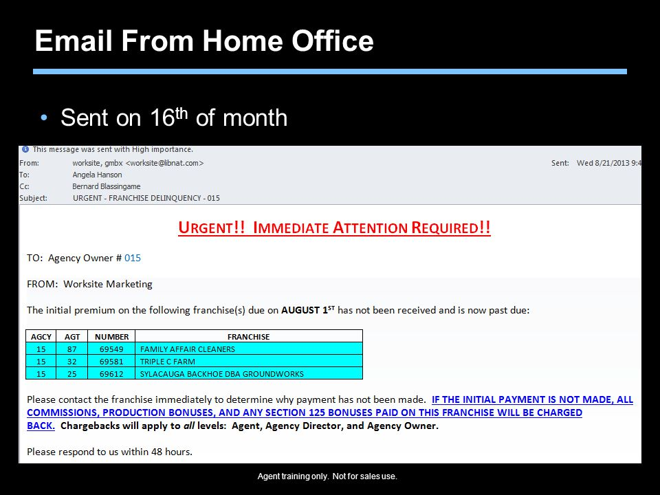 Email From Home Office Sent on 16th of month