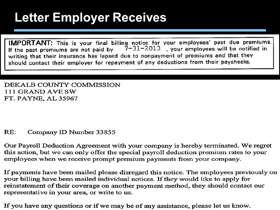 Letter Employer Receives
