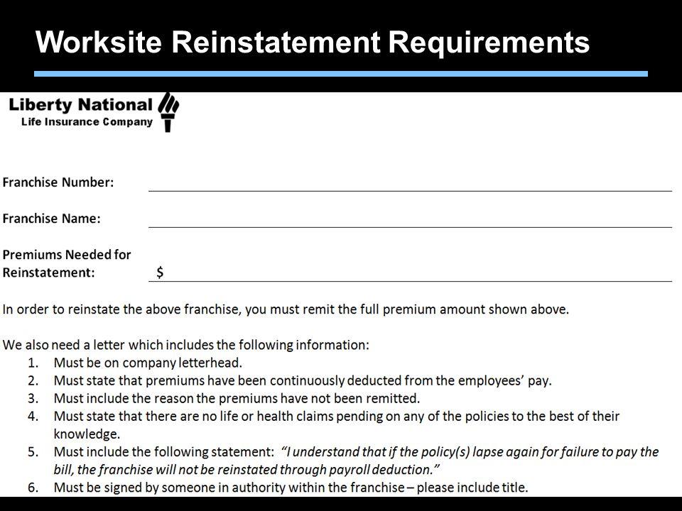 Worksite Reinstatement Requirements