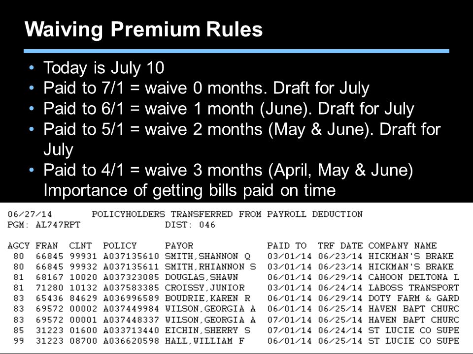 Waiving Premium Rules Today is July 10