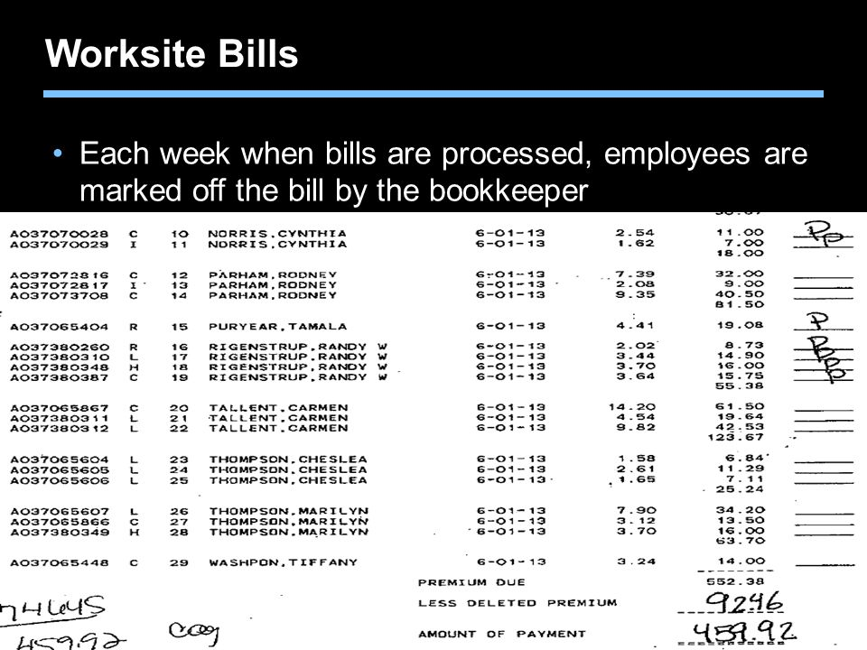 Worksite Bills Each week when bills are processed, employees are marked off the bill by the bookkeeper.