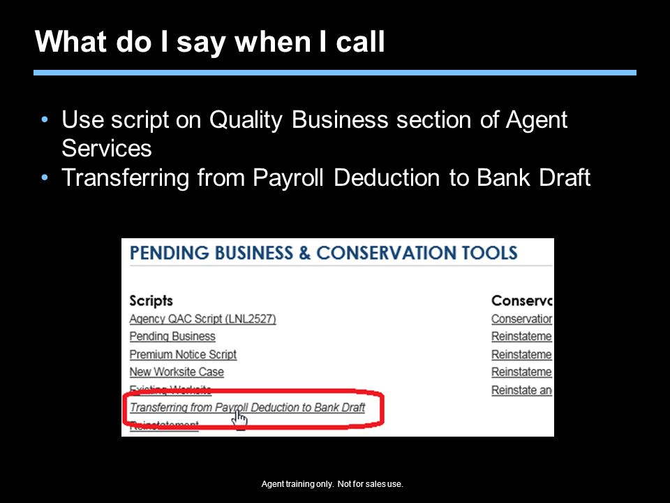 What do I say when I call Use script on Quality Business section of Agent Services.