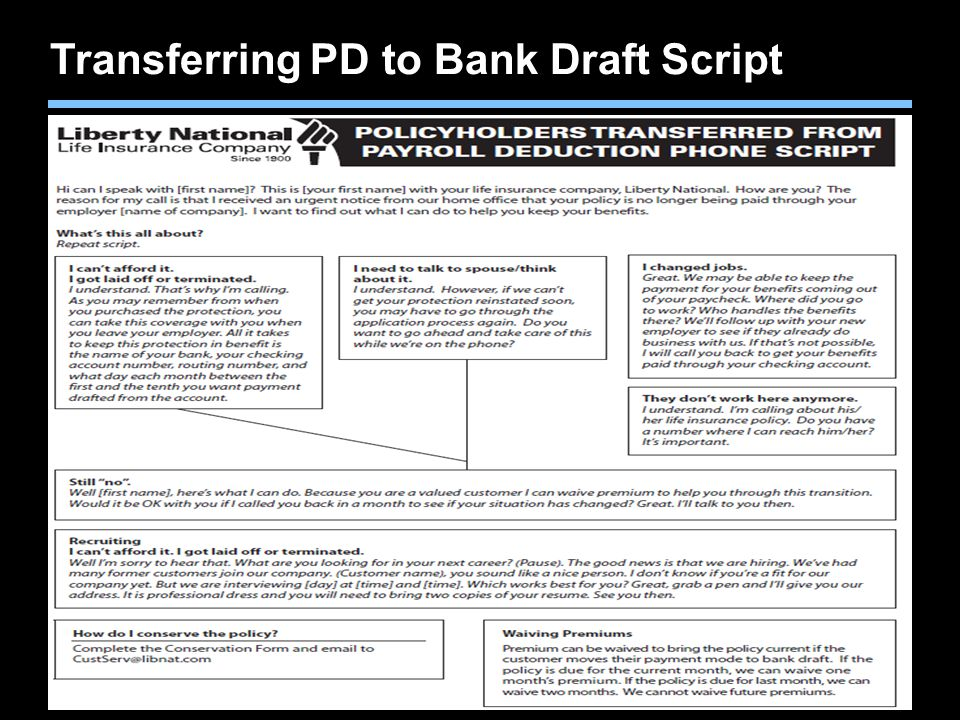 Transferring PD to Bank Draft Script