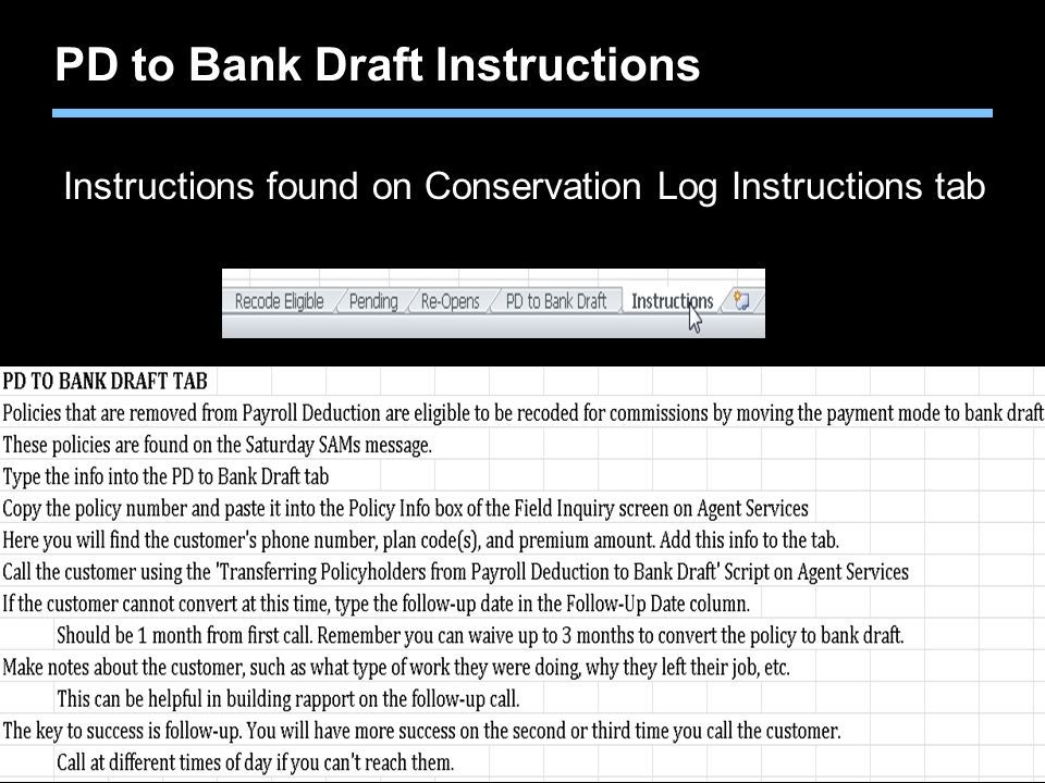 PD to Bank Draft Instructions