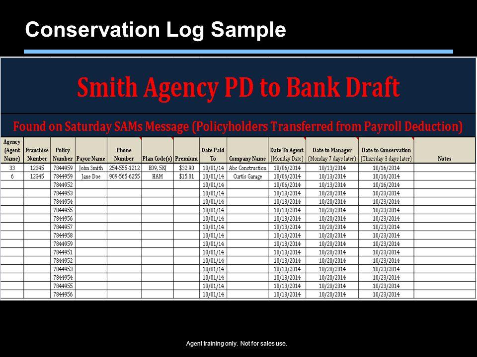 Conservation Log Sample