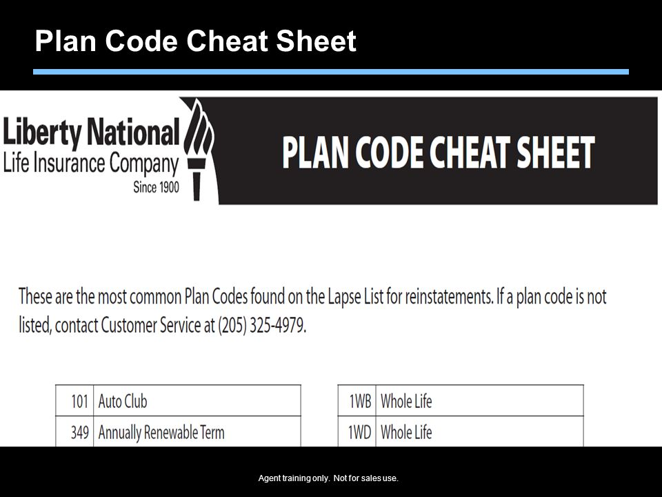 Plan Code Cheat Sheet Plan Code Cheat Sheet show the most popular products and their plan codes: Circle these.