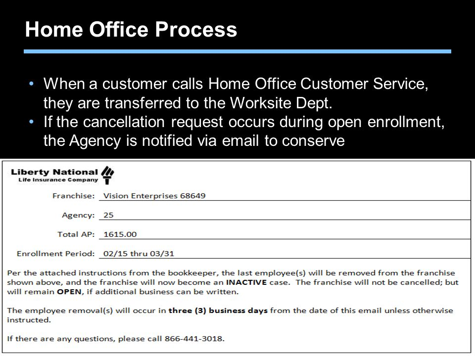 Home Office Process When a customer calls Home Office Customer Service, they are transferred to the Worksite Dept.