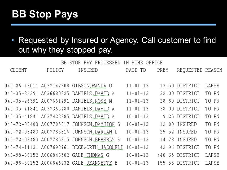 BB Stop Pays Requested by Insured or Agency. Call customer to find out why they stopped pay.