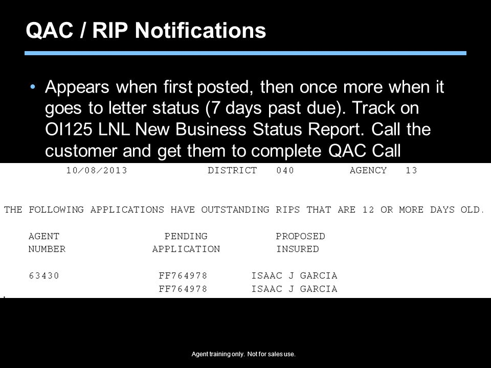 QAC / RIP Notifications