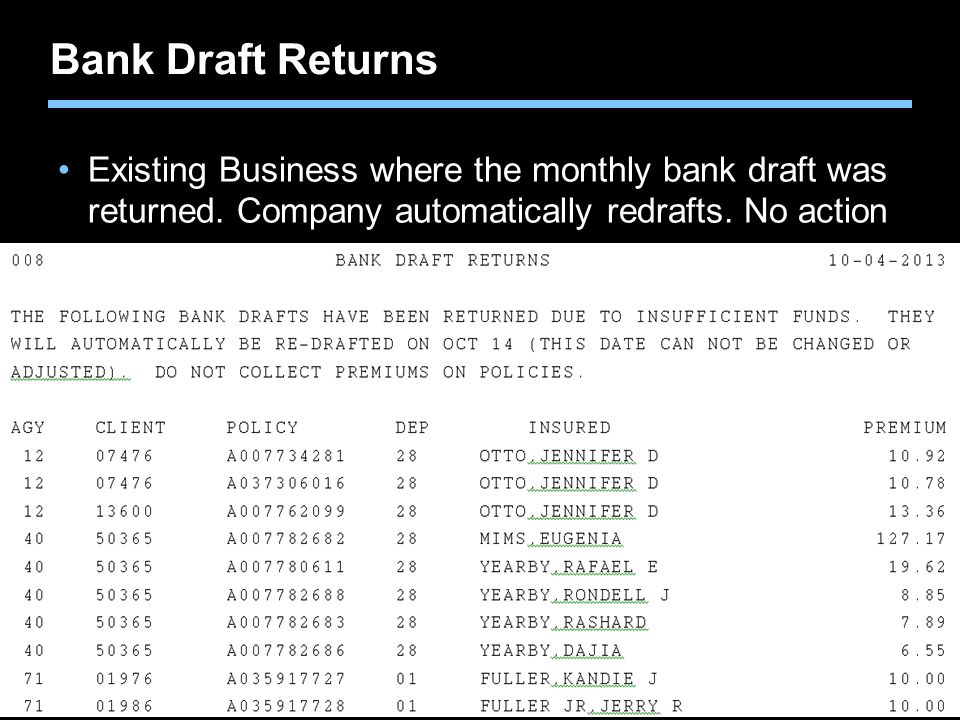 Bank Draft Returns Existing Business where the monthly bank draft was returned.