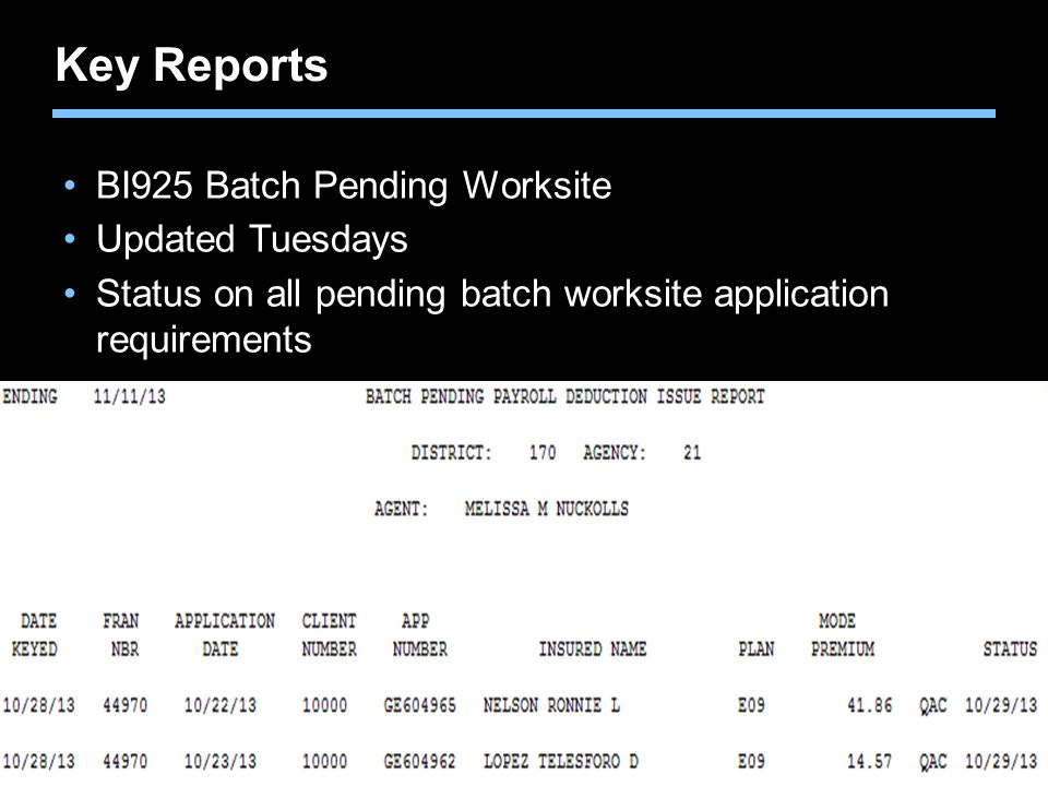 Key Reports BI925 Batch Pending Worksite Updated Tuesdays