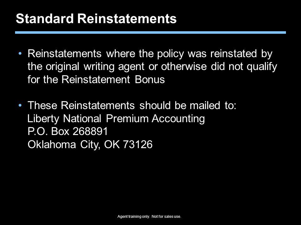 Standard Reinstatements