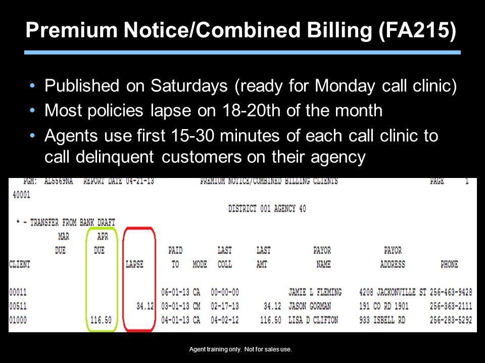 Premium Notice/Combined Billing (FA215)