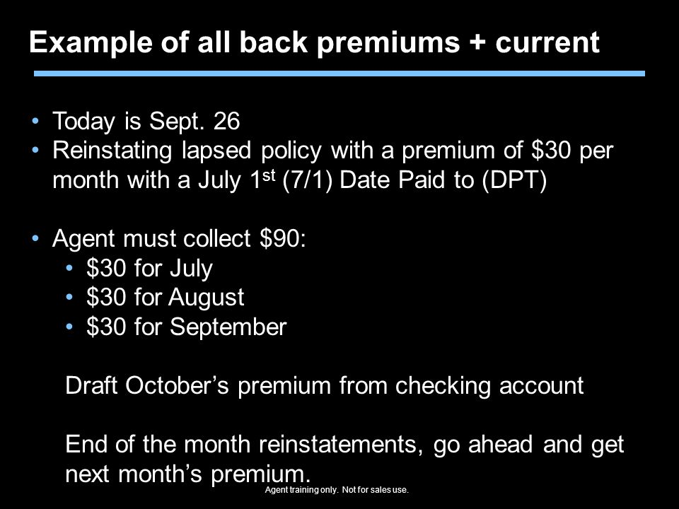 Example of all back premiums + current