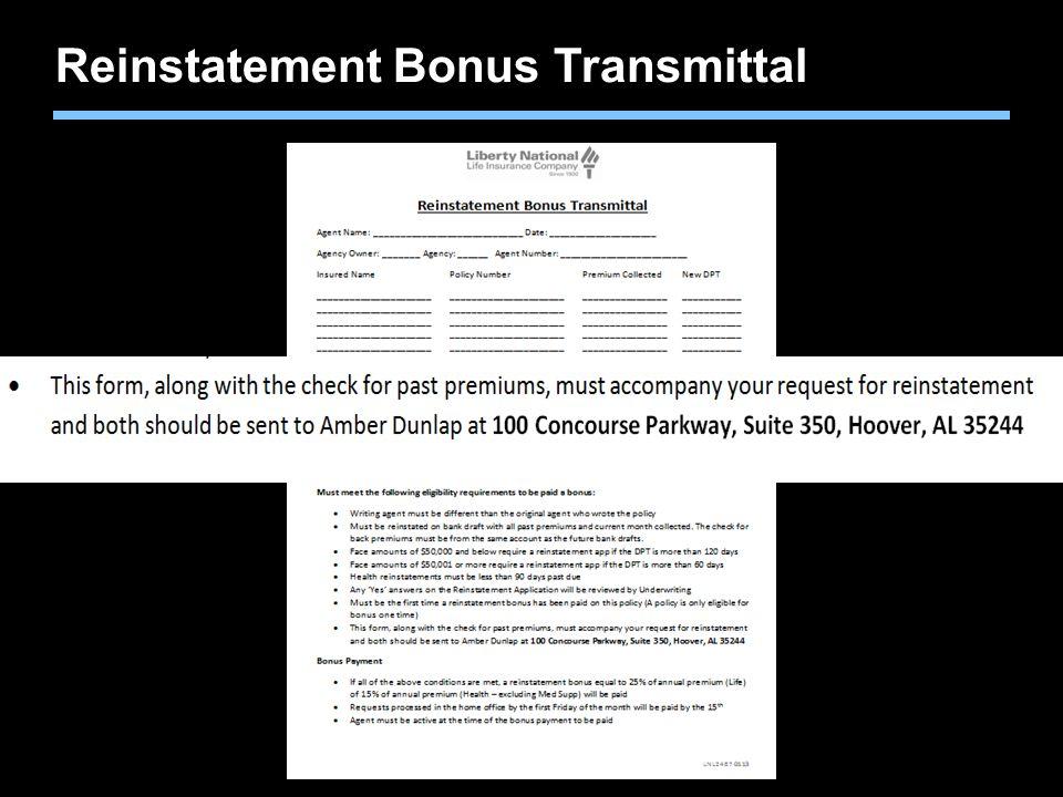 Reinstatement Bonus Transmittal