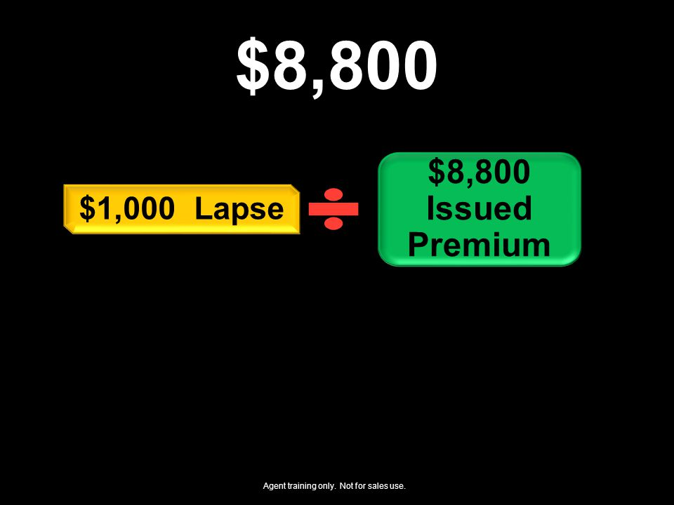 $8,800 $8,800 Issued Premium $1,000 Lapse