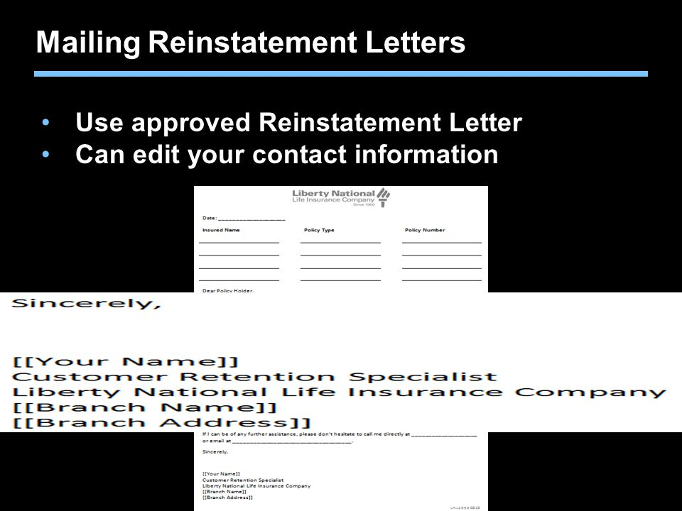 Mailing Reinstatement Letters