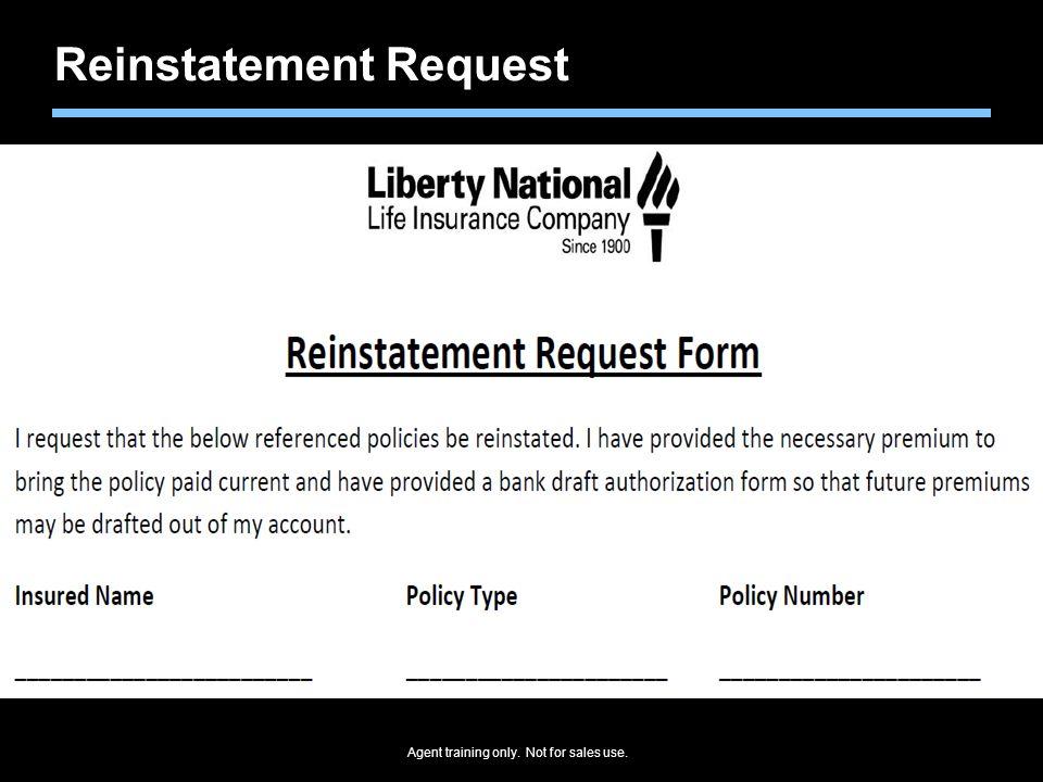 Reinstatement Request