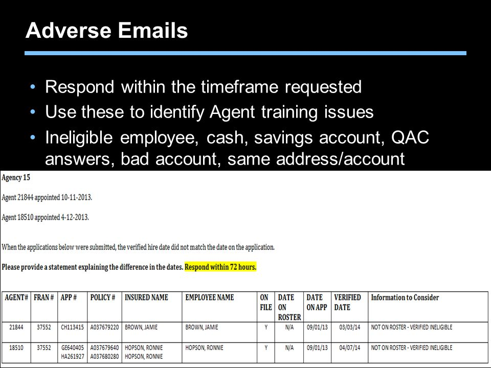 Adverse Emails Respond within the timeframe requested