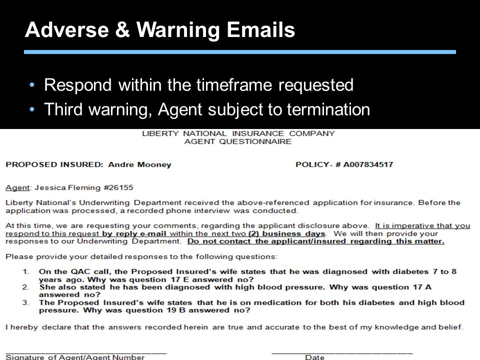 Adverse & Warning Emails