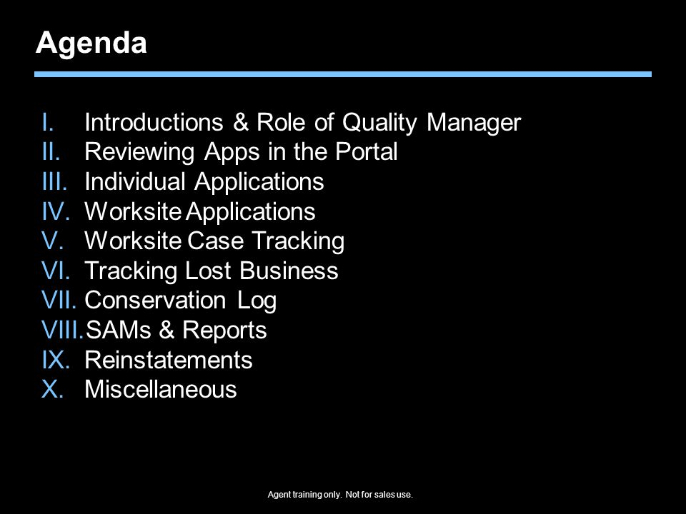 Agenda Introductions & Role of Quality Manager