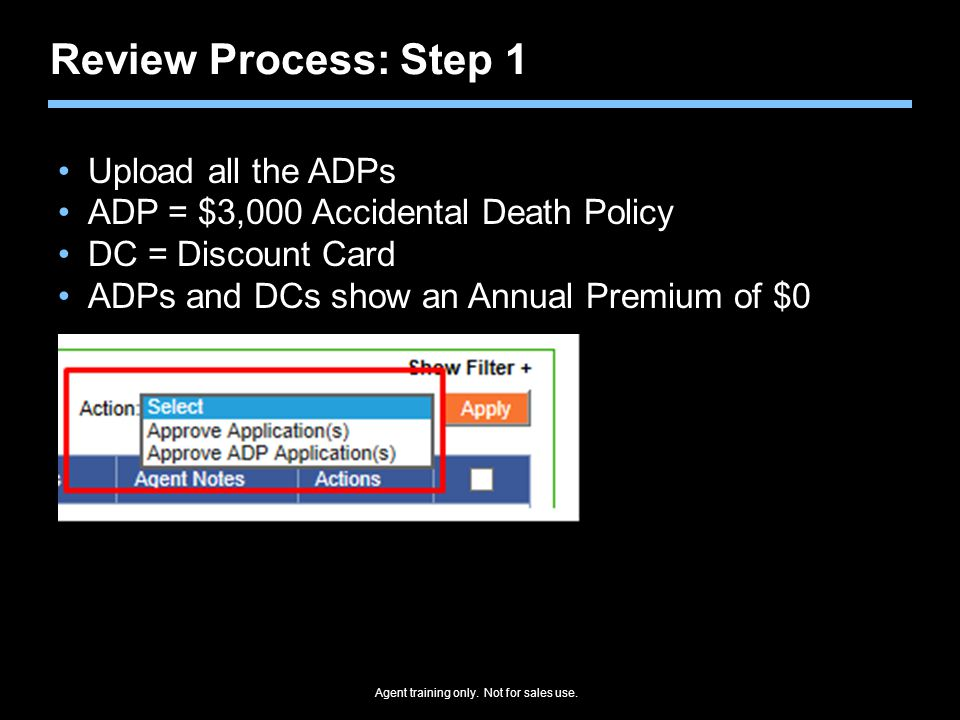 Review Process: Step 1 Upload all the ADPs