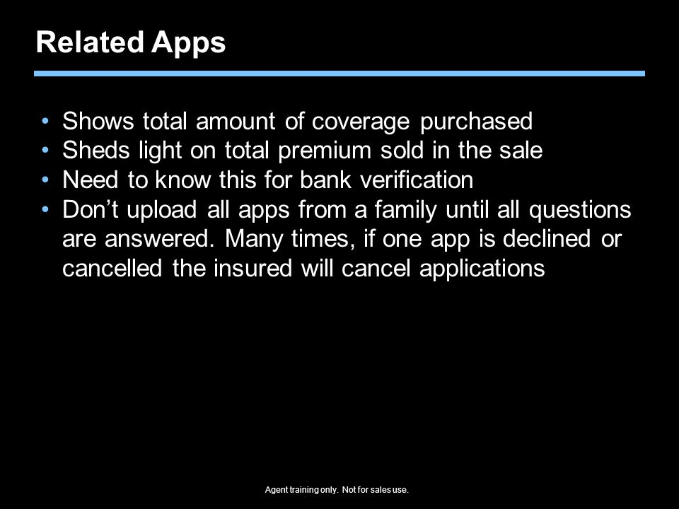 Related Apps Shows total amount of coverage purchased