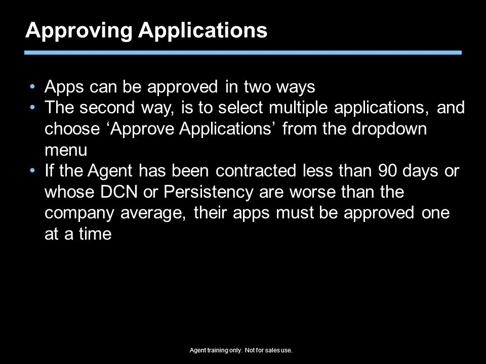Approving Applications