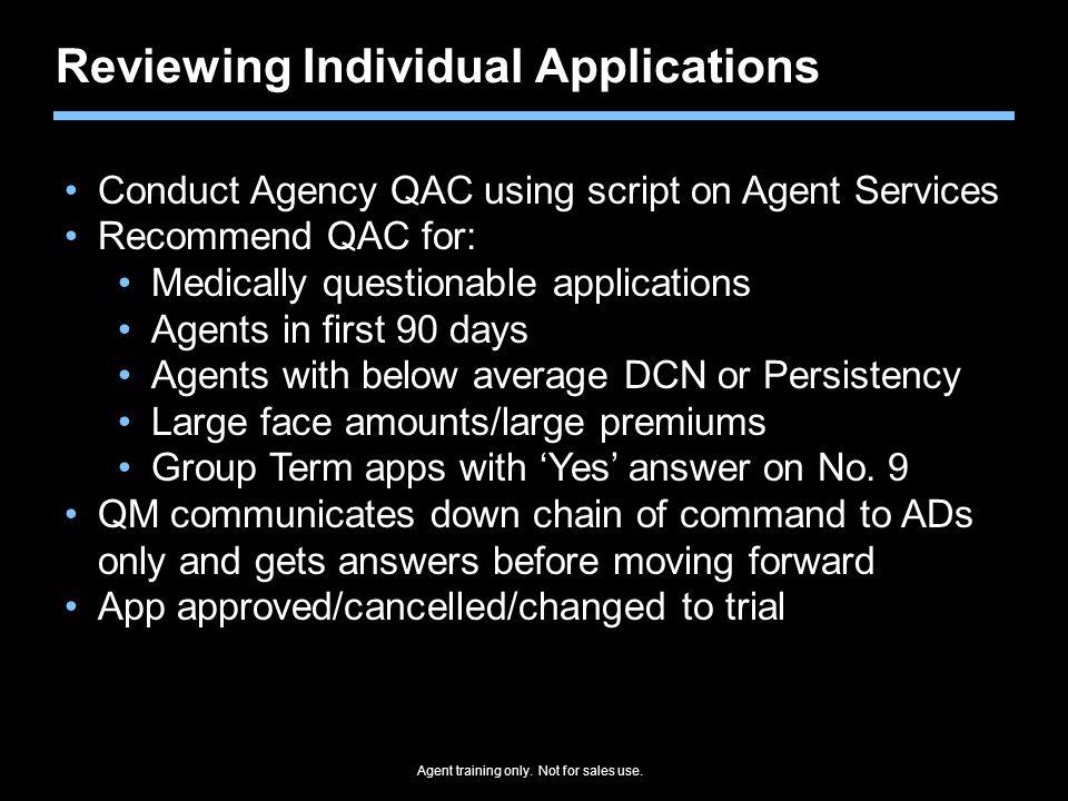 Reviewing Individual Applications
