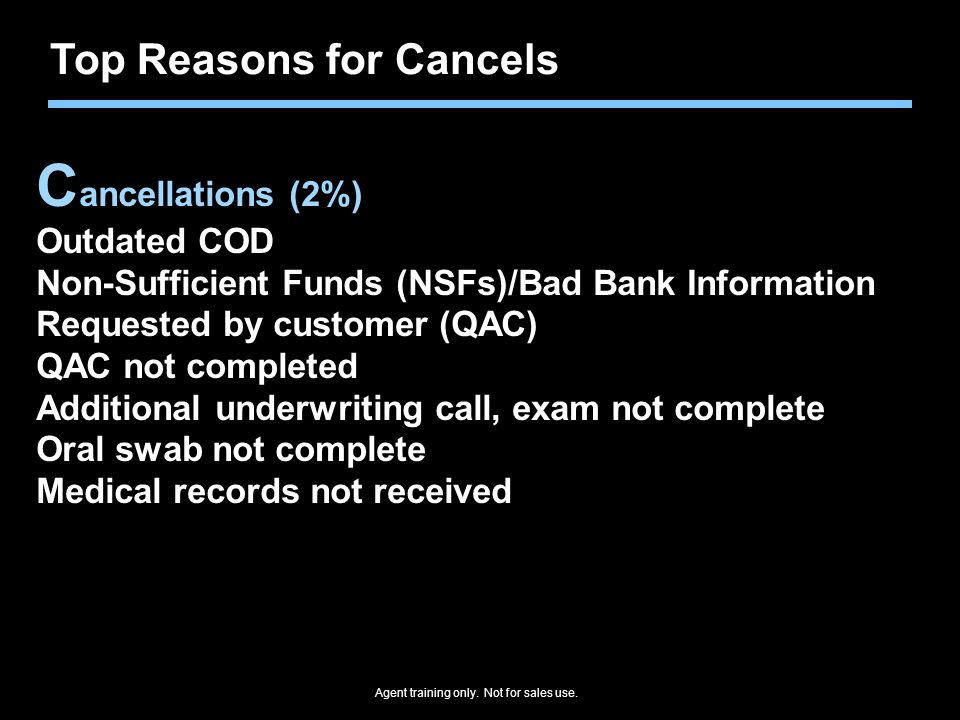 Cancellations (2%) Top Reasons for Cancels Outdated COD