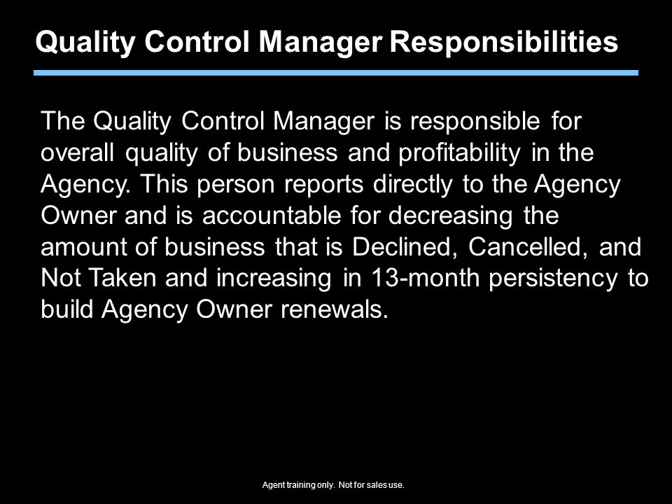 Quality Control Manager Responsibilities