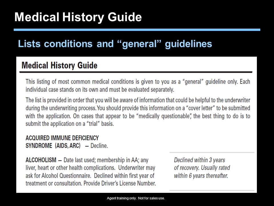 Medical History Guide Lists conditions and general guidelines