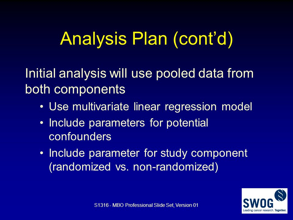 Analysis Plan (cont'd)