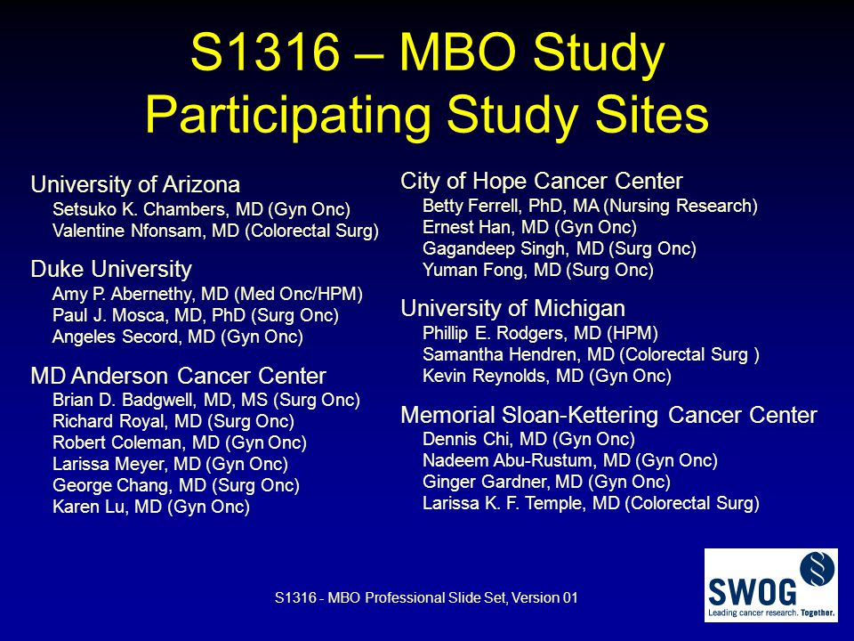 S1316 – MBO Study Participating Study Sites