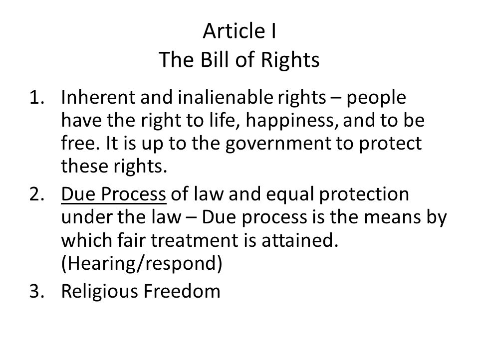Article I The Bill of Rights