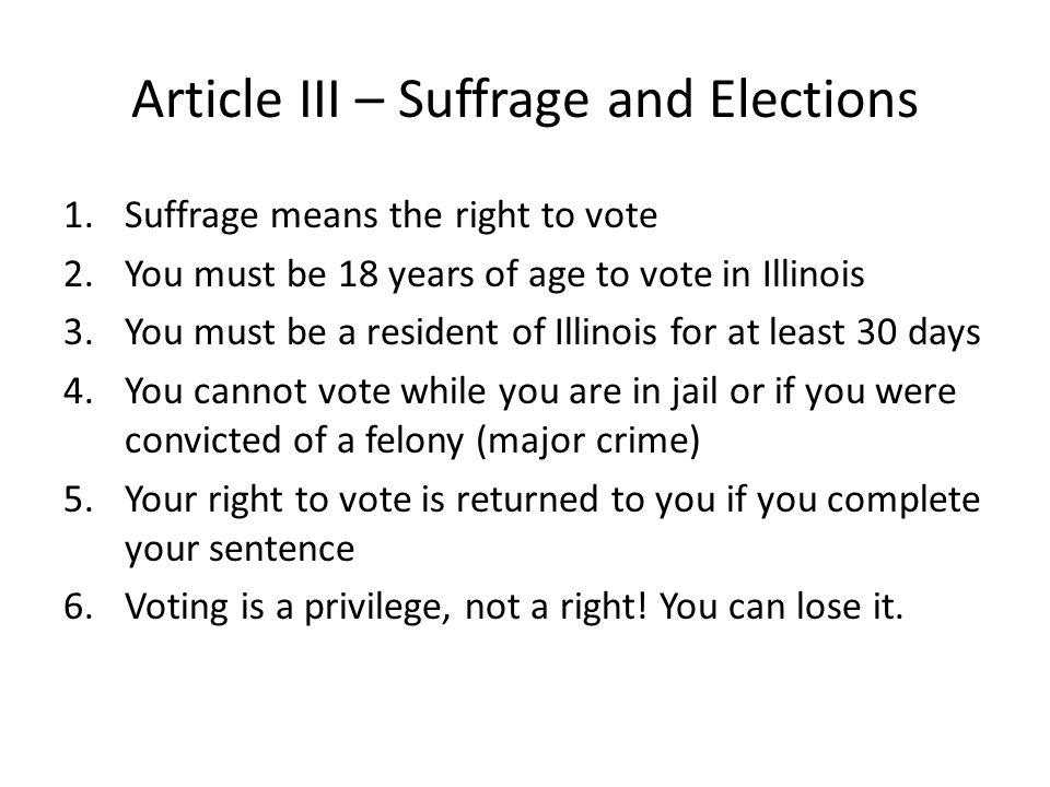 Article III – Suffrage and Elections