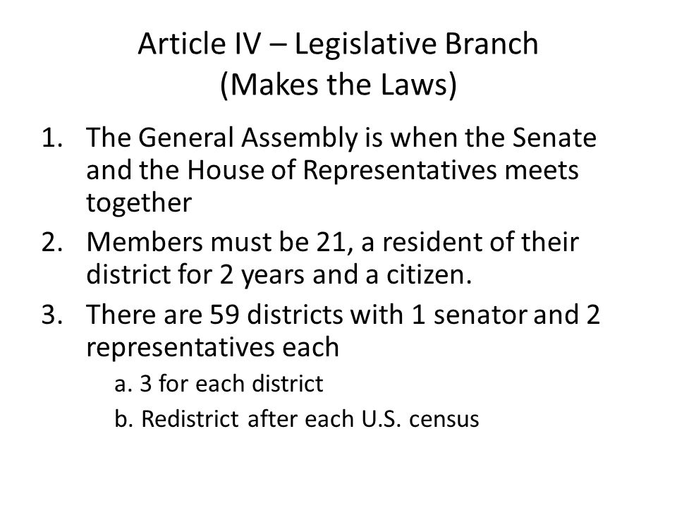 Article IV – Legislative Branch (Makes the Laws)