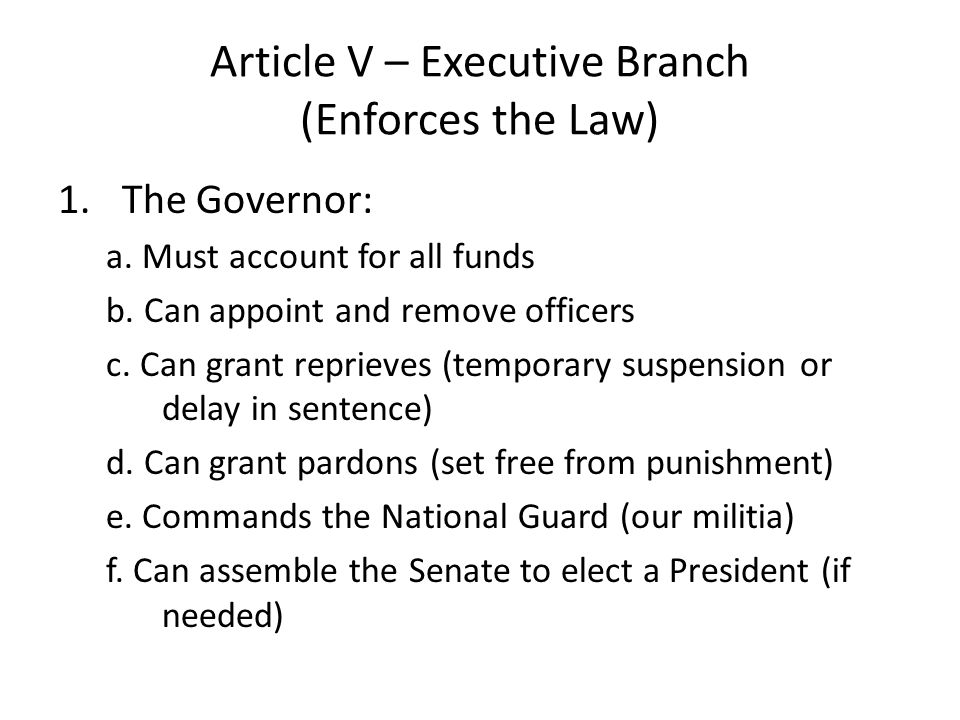 Article V – Executive Branch (Enforces the Law)